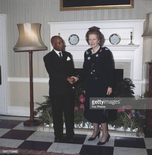 British Prime Minister Margaret Thatcher with Dr Hastings Banda President of Malawi at 10 Downing Street in London 17th April 1985