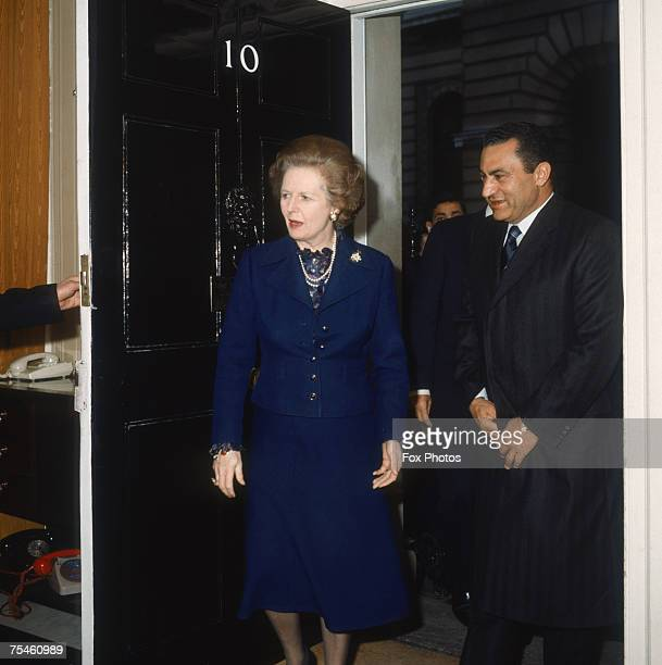 British Prime Minister Margaret Thatcher with Egyptian President Hosni Mubarak at 10 Downing Street, London, 1985.
