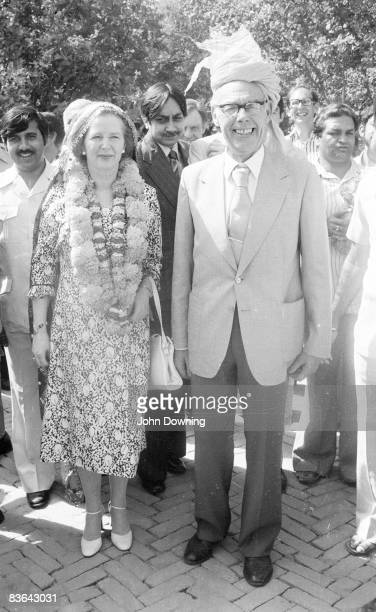 British prime minister Margaret Thatcher with her husband Denis during an official visit to India 20th April 1981