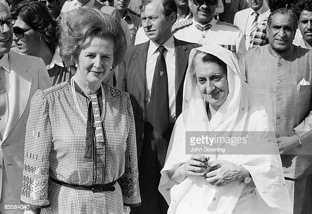 British prime minister Margaret Thatcher with her Indian counterpart Indira Gandhi in India 20th April 1981