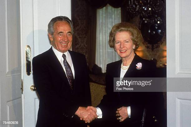 British Prime Minister Margaret Thatcher with Israeli Foreign Minister Shimon Peres at 10 Downing Street, London, 23rd June 1987.