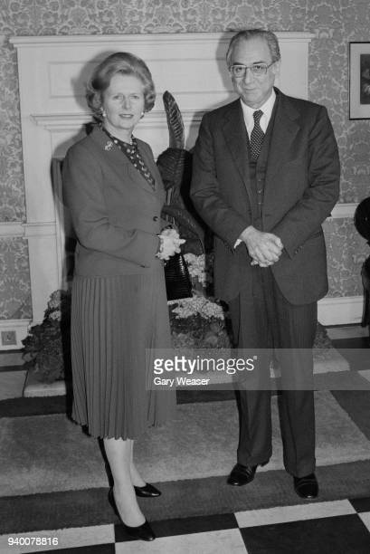 British Prime Minister Margaret Thatcher with Italian Prime Minister Francesco Cossiga at 10 Downing Street in London 25th April 1980