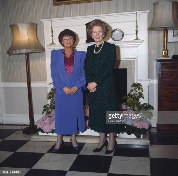 British Prime Minister Margaret Thatcher with Norwegian Prime Minister Gro Harlem Brundtland at 10 Downing Street in London 27th April 1987