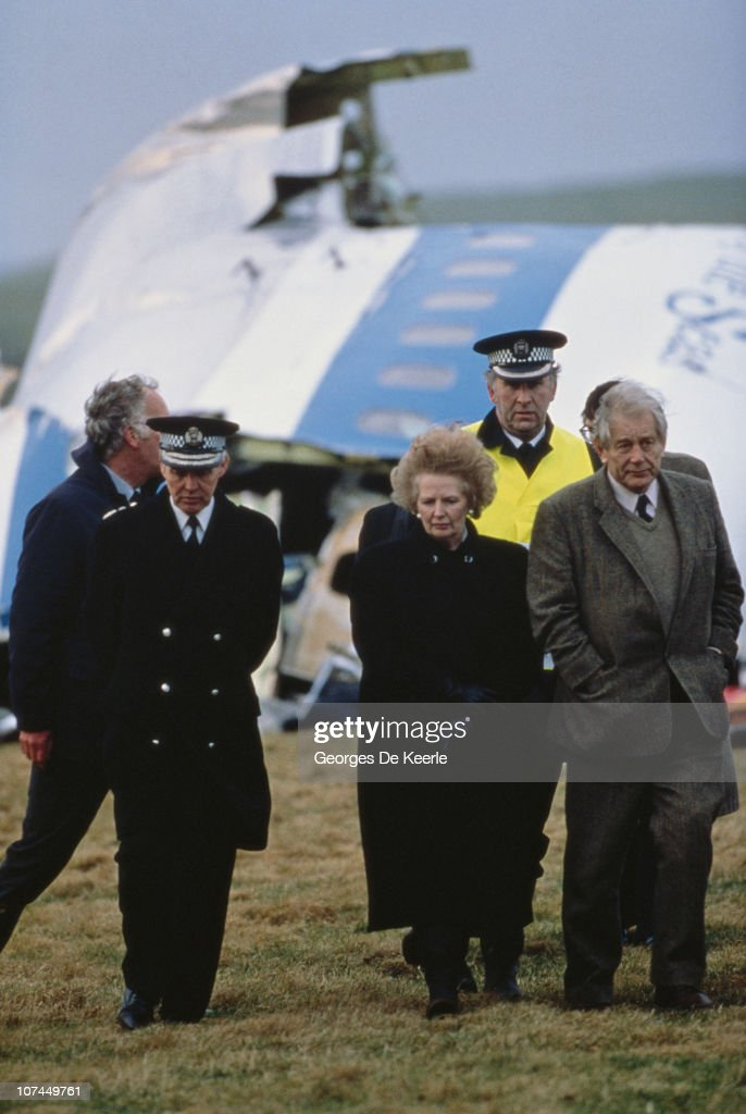 British Prime Minister Margaret Thatcher with police officers at the wreck of Pan Am Flight 103 after it crashed onto the town of Lockerbie in Scotland, 22nd December 1988. On 21st December 1988, the Boeing 747 Clipper Maid of the Seas was destroyed en route from Heathrow to JFK airport in New York, when a bomb was detonated in its forward cargo hold. All 259 people on board on board were killed, as well as 11 people in the town of Lockerbie.