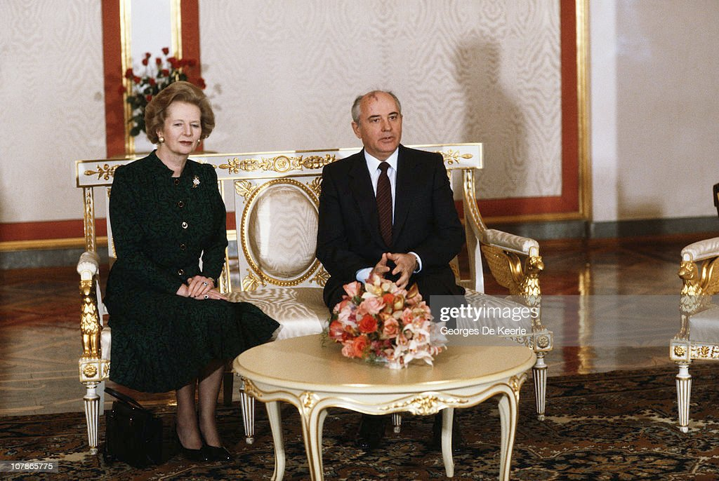 British Prime Minister Margaret Thatcher with Soviet leader Mikhail Gorbachev during a visit to Moscow, March 1987.