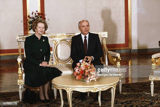 British Prime Minister Margaret Thatcher with Soviet leader Mikhail Gorbachev during a visit to Moscow March 1987