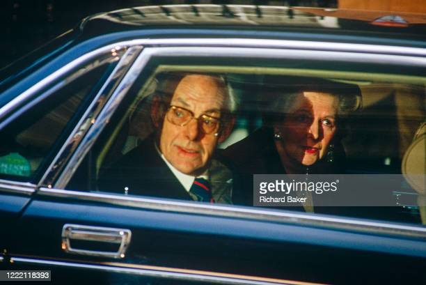 British Prime Minister, Margaret Thatcher's political career of 11 years ends emotionally by being driven through the gates of Downing Street after...