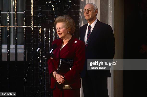 British Prime Minister Margaret Thatcher's political career of 11 years ends emotionally on the steps of 10 Downing Street after being deposed in a...