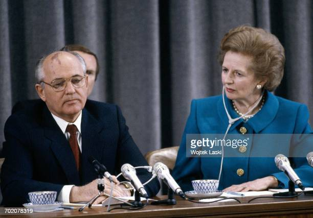 British Prime Minister Margaret Thatcher's visit to the Soviet Union Pictured Mikhail Gorbachev and Margaret Thatcher Moscow Russia on June 1st 1990