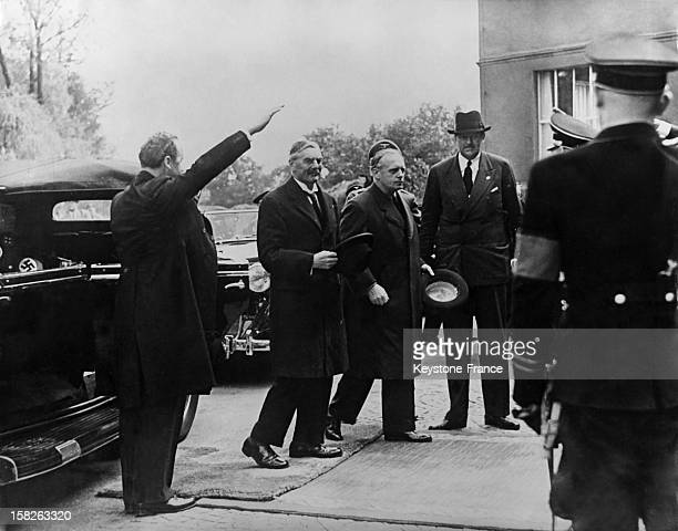 British Prime Minister Neville Chamberlain arrives in Bad Godesberg to meet Adolf Hitler at his Obersalzberg Villa to Prepare The Munich Conference...
