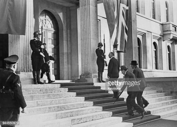 British Prime Minister Neville Chamberlain during his visit to Munich Germany for the Munich conference September 1938