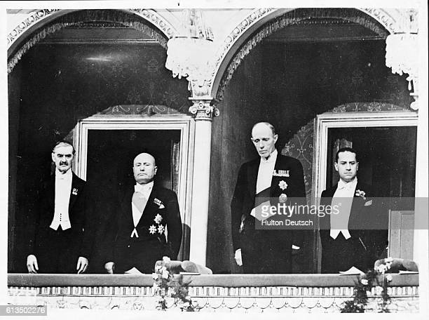 British Prime Minister Neville Chamberlain Italian Dictator Benito Mussolini British Foreign Secretary Lord Edward Halifax and Italian diplomat Count...