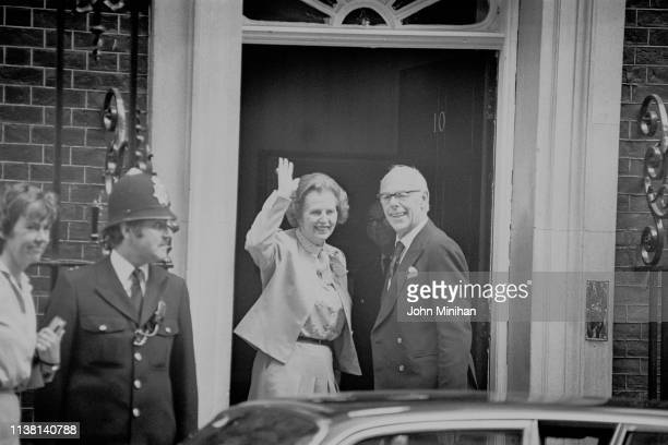 British Prime Minister of the United Kingdom Margaret Thatcher and her husband British businessman Denis Thatcher outside the Prime Minister's Office...