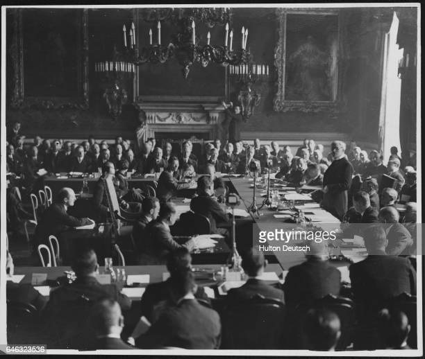British prime minister Ramsay MacDonald makes the opening speech at the London Conference the historic naval conference of five major powers in...