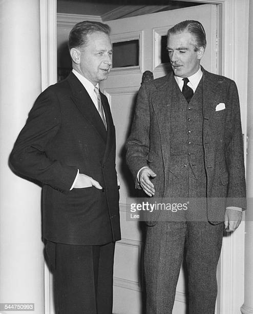 British Prime Minister Sir Anthony Eden and Dag Hammarskjold, Secretary General of the United Nations, December 31st 1954.