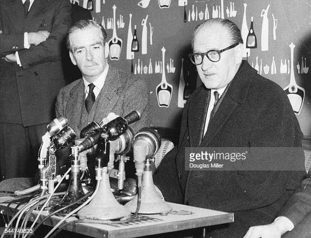 British Prime Minister Sir Anthony Eden and his French counterpart Guy Mollet at a press conference London Airport March 3rd 1956 Printed during Lord...