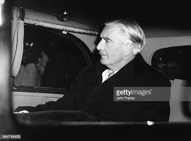 British Prime Minister Sir Anthony Eden in the back of a car leaving his office at 10 Downing Street for Buckingham Palace London January 9th 1957