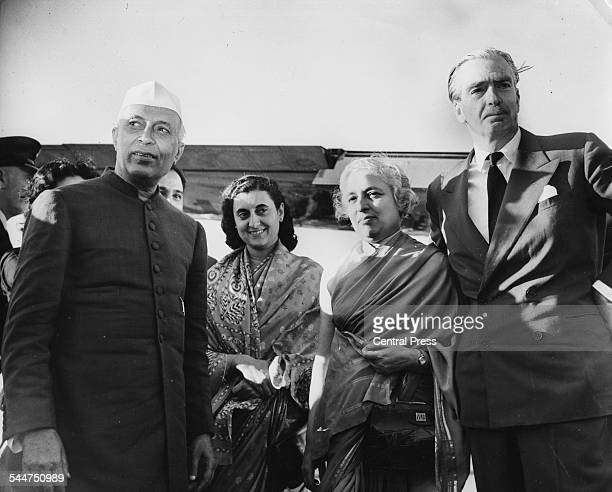 British Prime Minister Sir Anthony Eden with his Indian counterpart Jawaharlal Nehru Indira Gandhi and Nehru's sister at London Airport July 8th 1955