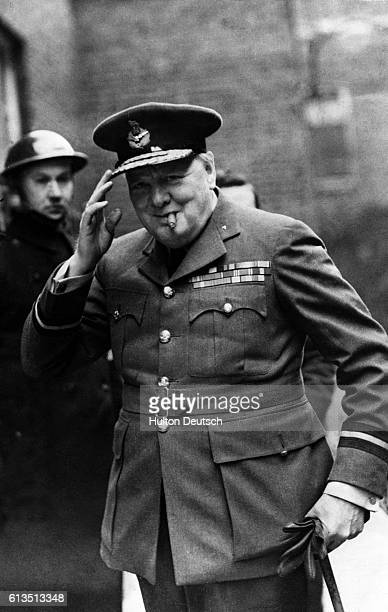 British Prime Minister Sir Winston Churchill at Downing street on his arrival to London in 1943