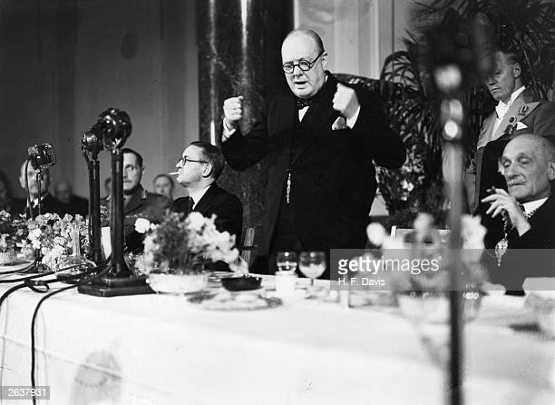 British Prime Minister Sir Winston Churchill giving a speech at County Hall in London