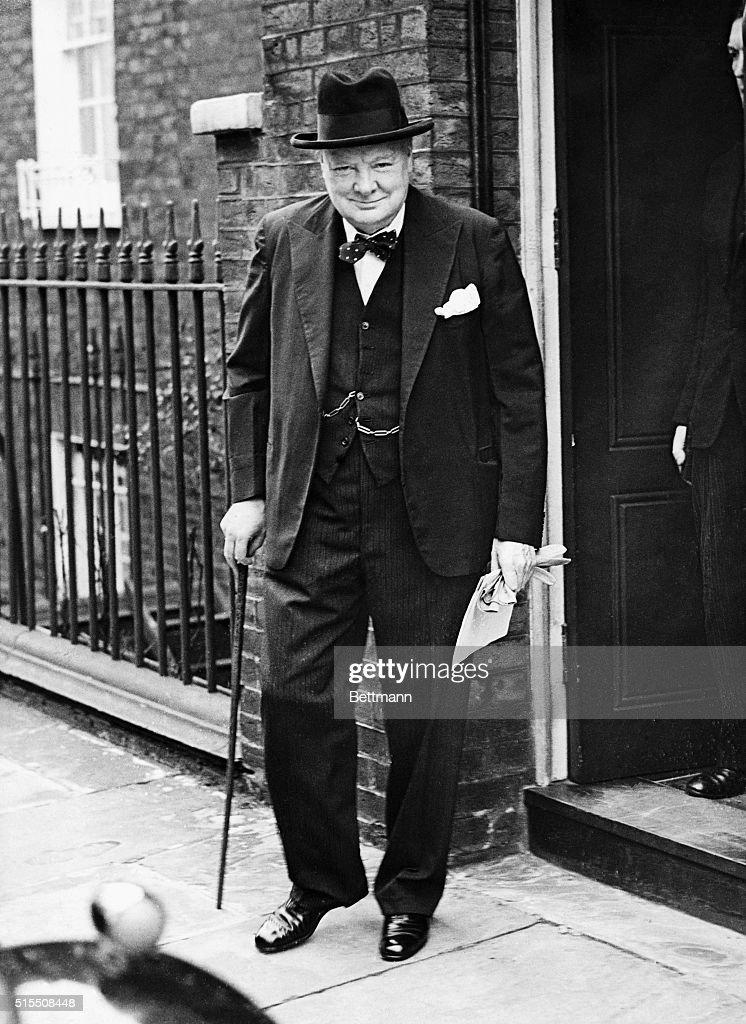 British Prime Minister Sir Winston Churchill (1874-1965) leaving No. 10 Downing Street.