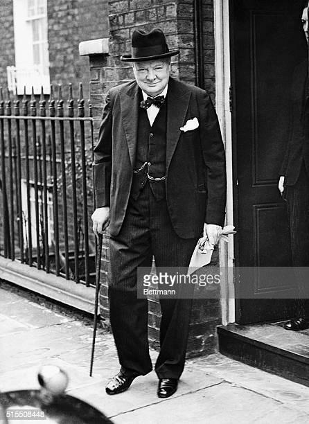 British Prime Minister Sir Winston Churchill leaving No. 10 Downing Street.