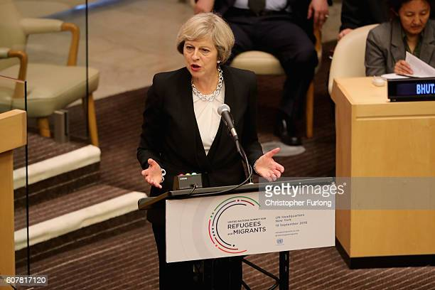 British Prime Minister Theresa May addresses delegates as she delivers a keynote speech on the refugee crisis at the United Nations General assembly...