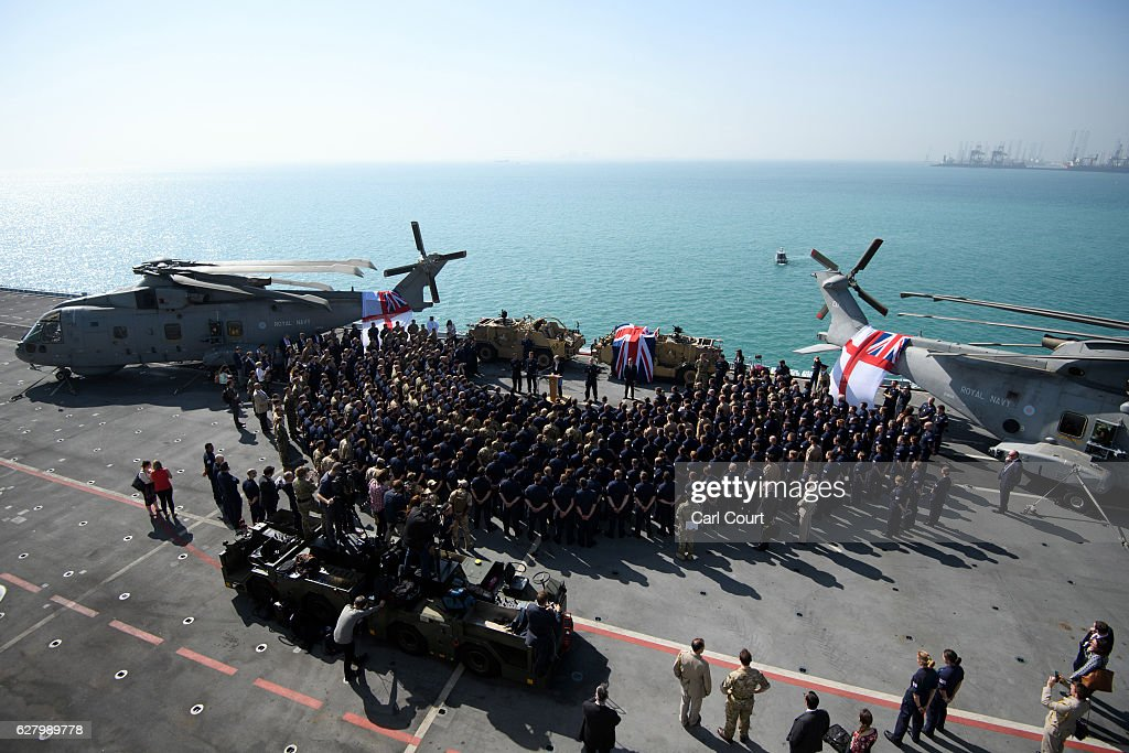 British Prime Minister Theresa May addresses sailors on board HMS Ocean during her trip to attend the Gulf Cooperation Council summit in Bahrain, on December 6, 2016 in Manama, Bahrain. Prime Minister May is the first British leader and the first woman to attend the annual two-day Gulf Cooperation Council and will attend a dinner with the leaders of Saudi Arabia, Kuwait, the United Arab Emirates, Qatar, Bahrain and Oman on Tuesday, and will also discuss the situation in Yemen and Syria.