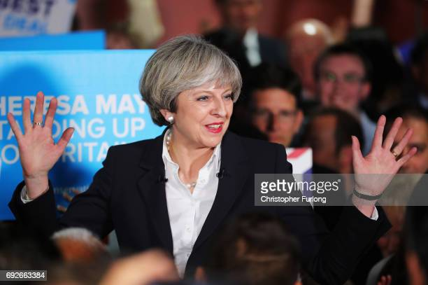 British Prime Minister Theresa May addresses supporters at The Provident Stadium as the Conservative election campaign resumes on June 5 2017 in...