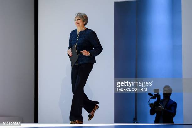 TOPSHOT British Prime Minister Theresa May addresses the World Economic Forum annual meeting on January 25 2018 in Davos eastern Switzerland / AFP...