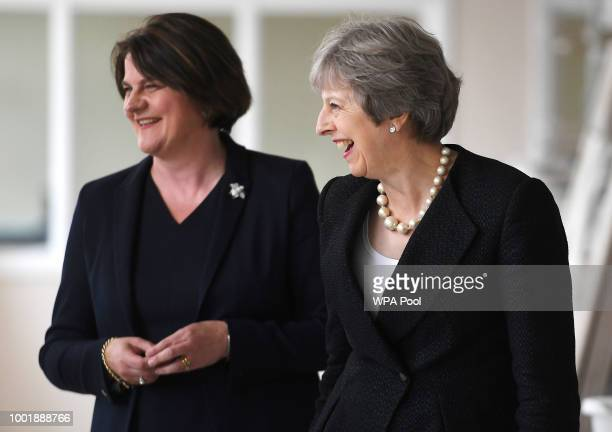 British Prime Minister Theresa May and Arlene Foster, the leader of the Democratic Unionist Party visit Belleek Pottery, on July 19, 2018 in St...