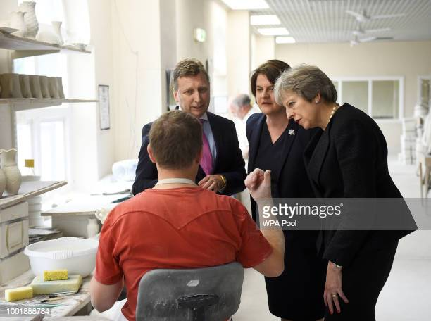 British Prime Minister Theresa May and Arlene Foster the leader of the Democratic Unionist Party visit Belleek Pottery on July 19 2018 in St Belleek...