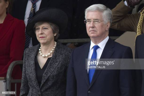 British Prime Minister Theresa May and British Defence Secretary Michael Fallon attend a Service of Commemoration and Drumhead Service on Horse...