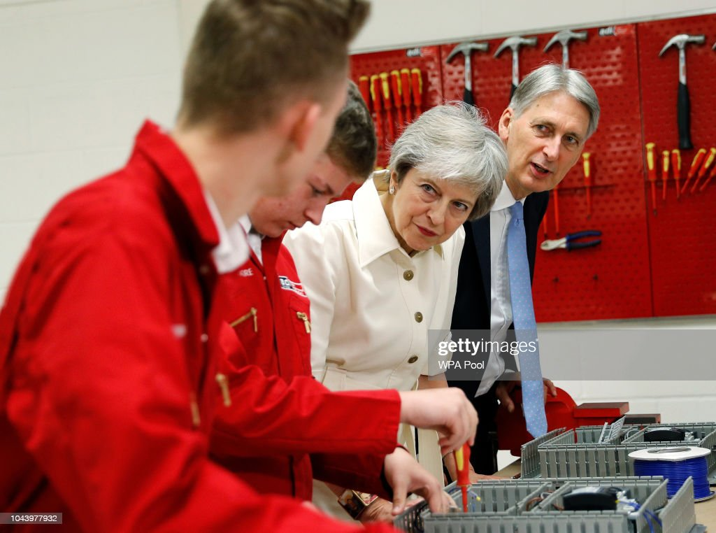 The Prime Minister And Chancellor Of The Exchequer Visit A Business Local To Conference : News Photo
