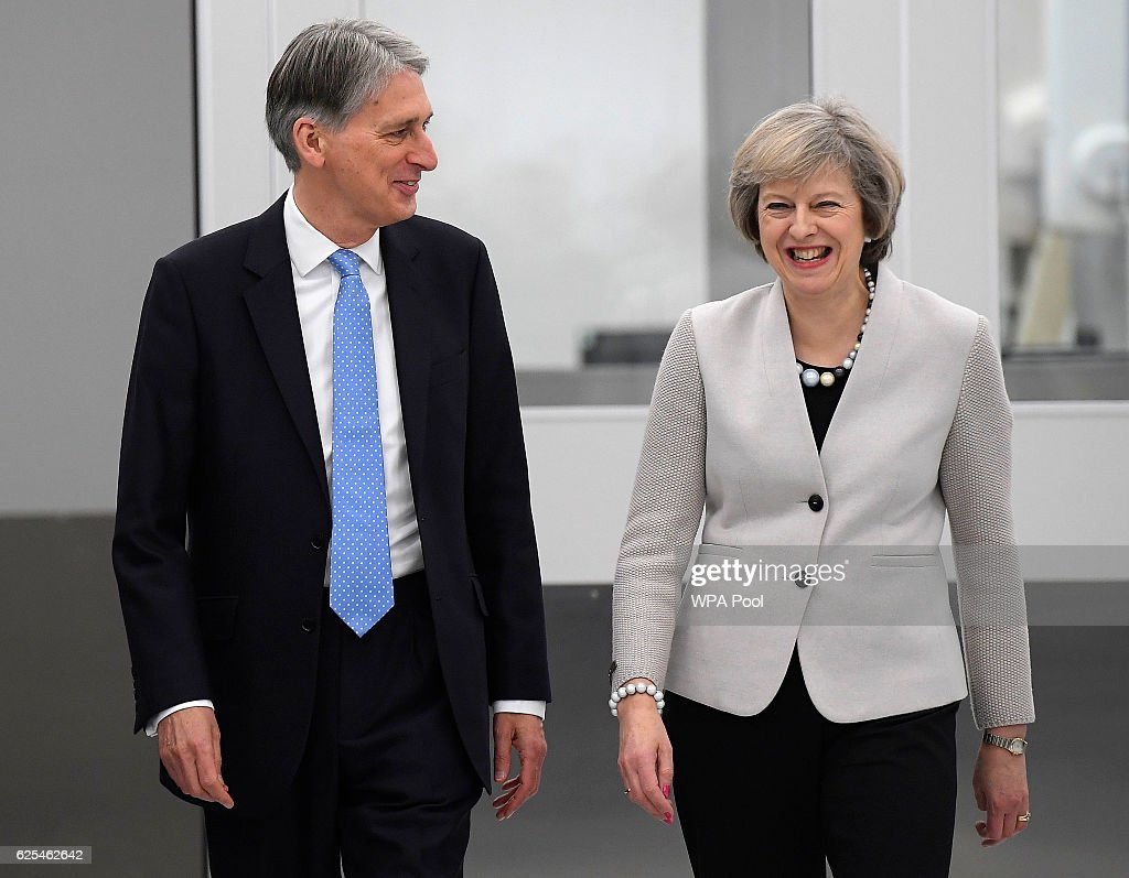 Theresa May And Philip Hammond Visit Renishaw Innovation and Engineering Plant