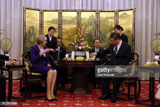 British Prime Minister Theresa May and Chinese President Xi Jinping take part in a Tea Ceremony at Mr Jinping's official Diaoyutai State Guesthouse...