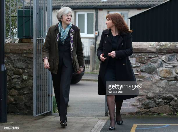 British Prime Minister Theresa May and Conservative Party candidate for the upcoming Copeland by-election, Trudy Harrison, arrive for a visit to...