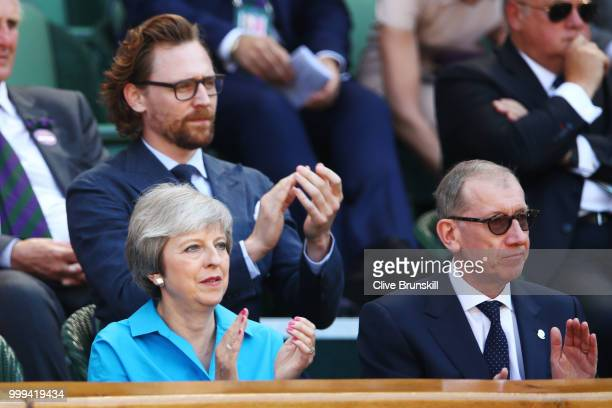 British Prime Minister Theresa May and her husband Philip May attend the Men's Singles final on day thirteen of the Wimbledon Lawn Tennis...