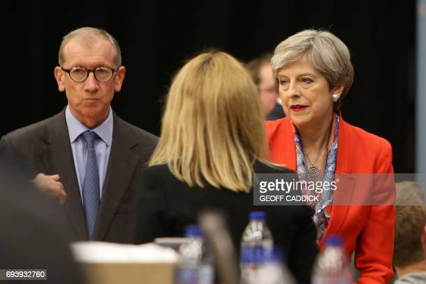 British Prime Minister Theresa May and her husband Philip wait for the results to be declared at the count centre in Maidenhead early in the morning...