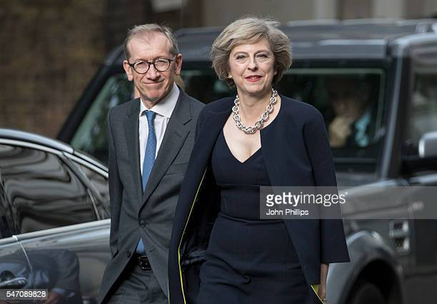 British Prime Minister Theresa May and husband Philip May arrive at 10 Downing Street on July 13 2016 in London England Former Home Secretary Theresa...