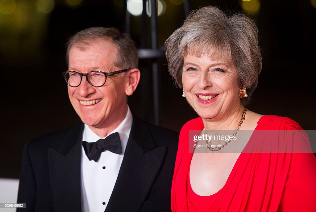 British Prime Minister Theresa May and husband Philip May attend The Sun Military Awards at The Guildhall on December 14, 2016 in London, England.