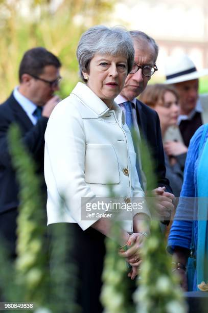 British Prime Minister Theresa May and husband Philip May attend the Chelsea Flower Show 2018 on May 21 2018 in London England