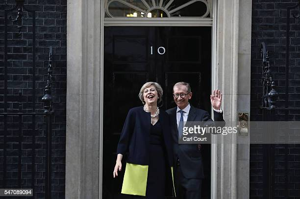 British Prime Minister Theresa May and husband Philip May outside 10 Downing Street on July 13 2016 in London England Former Home Secretary Theresa...