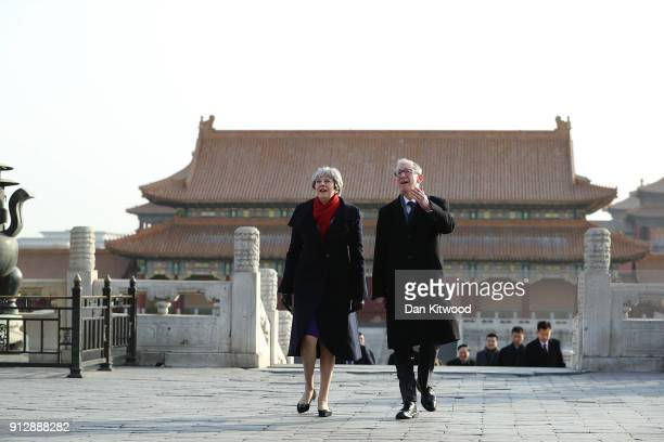 British Prime Minister Theresa May and husband Philip May visit the Forbidden City on February 01 2018 in Beijing China Mrs May is being accompanied...