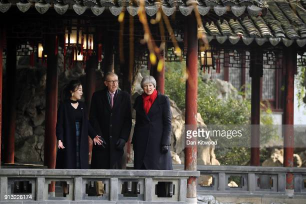 British Prime Minister Theresa May and husband Philip May visit the Yu Yuan Temple Gardens on February 02 2018 in Shanghai China Mrs May will today...