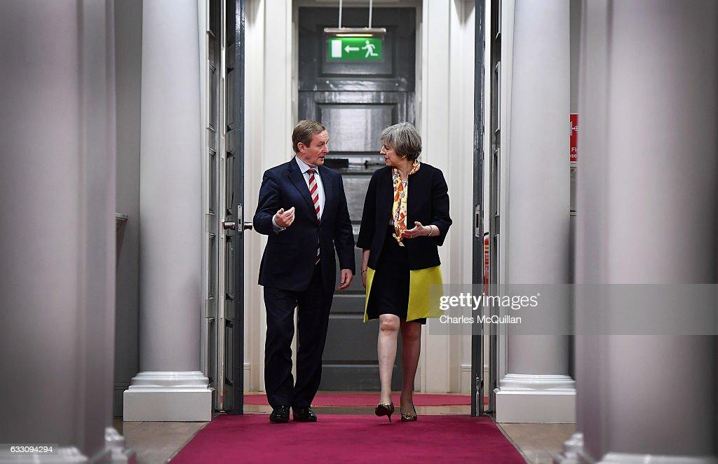 Theresa May Meets Irish Taoiseach Enda Kenny