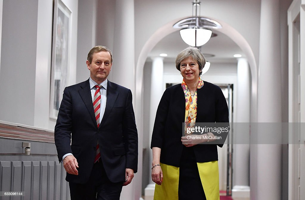 Theresa May Meets Irish Taoiseach Enda Kenny