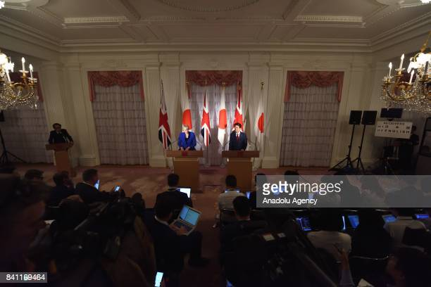 British Prime Minister Theresa May and Japanese Prime Minister Shinzo Abe hold a joint press conference at the Akasaka Palace State Guest House in...