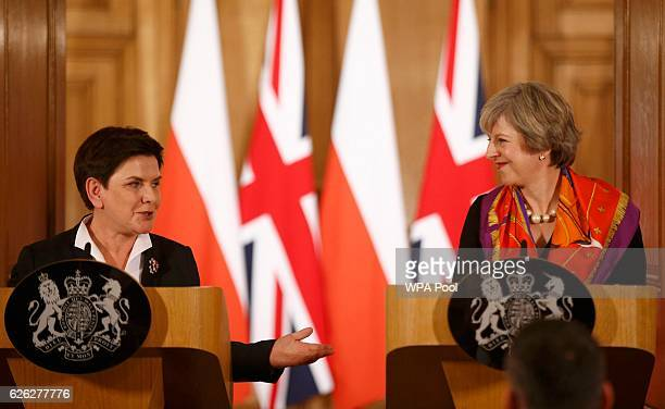 British Prime Minister Theresa May and Polish Prime Minister Beata Szydlo hold a joint press conference at 10 Downing Street on November 28 2016 in...