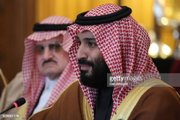 British Prime Minister Theresa May and Saudi Crown Prince Mohammed bin Salman hold a meeting with other members of the British government and Saudi...